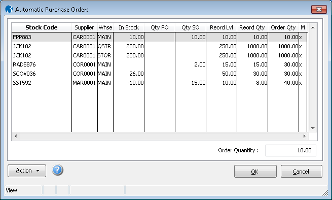 Automatic Purchase Orders